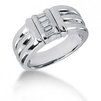Platinum Baguette Diamond Men's Wedding Ring 0.25ct