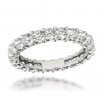 Platinum Cushion Cut Diamond Eternity Ring Diamond Anniversary Ring 2.5ct