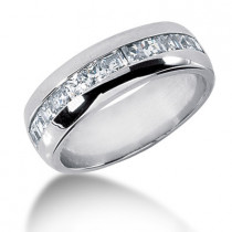 Platinum Diamond Men's Wedding Ring 1.20ct