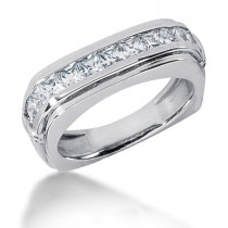 Platinum Diamond Men's Wedding Ring 1.54ct