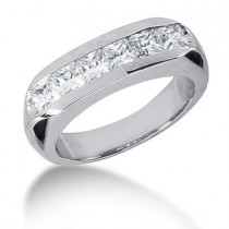 Platinum Diamond Men's Wedding Ring 1.62ct