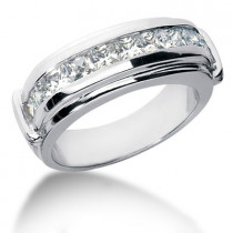 Platinum Diamond Men's Wedding Ring 1.70ct
