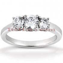 Ultra Thin Platinum Diamond Three Stones Engagement Ring 0.80ct