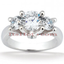 Thin Platinum Diamond Three Stones Engagement Ring 1.04ct