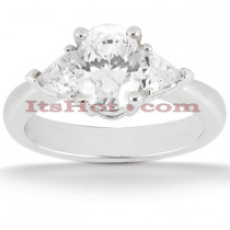 Ultra Thin Platinum Diamond Three Stones Engagement Ring 1.25ct