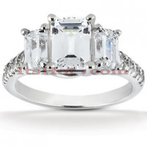 Thin Platinum Diamond Three Stones Engagement Ring 1.91ct
