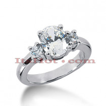 Thin Platinum Diamond Three Stones Engagement Ring 2.30ct