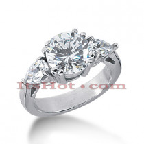 Thin Platinum Diamond Three Stones Engagement Ring 2.75ct