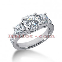 Thin Platinum Diamond Three Stones Engagement Ring 3.20ct