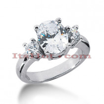 Thin Platinum Diamond Three Stones Engagement Ring 3.50ct