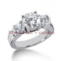 Platinum Diamond Three Stones Engagement Ring 3ct