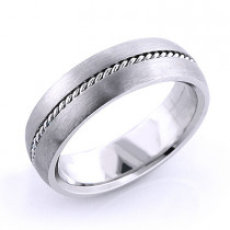 Platinum Little Braid Wedding Band for Men