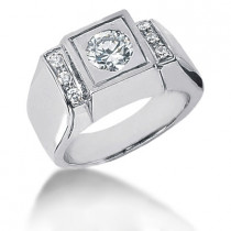Platinum Men's Diamond Ring 0.87ct