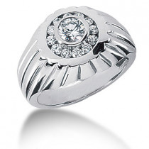 Platinum Men's Diamond Ring 1.23ct
