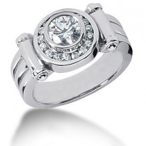 Platinum Men's Diamond Ring 1.38ct