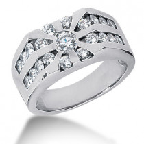 Platinum Men's Diamond Ring 1.59ct