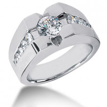 Platinum Men's Diamond Ring 1.72ct