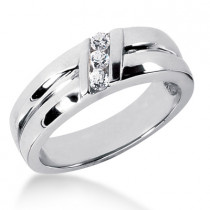Platinum Men's Diamond Wedding Ring 0.18ct