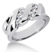 Platinum Men's Diamond Wedding Ring 0.60ct