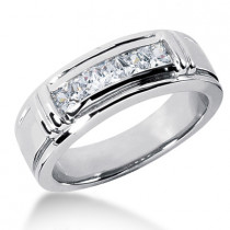 Platinum Men's Diamond Wedding Ring 0.85ct