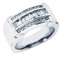 Platinum Men's Princess & Baguette Diamonds Ring 1.50ct