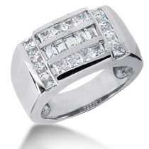 Platinum Men's Princess & Baguette Diamonds Ring 1.85ct