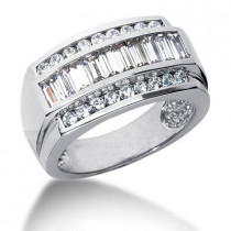 Platinum Men's Round & Baguette Diamonds Ring 2.26ct