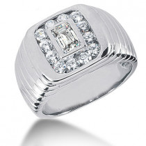 Platinum Men's Round & Emerald Diamonds Ring 1.34ct