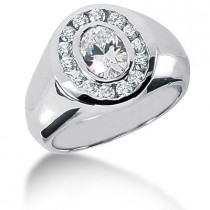 Platinum Men's Round & Oval Diamonds Ring 2.06ct