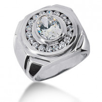 Platinum Men's Round & Oval Diamonds Ring 2.72ct