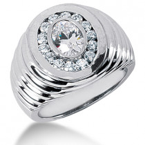 Platinum Men's Round & Oval Diamonds Ring 2.80ct