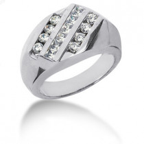 Platinum Men's Round & Princess Diamonds Ring 1.16ct