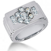 Platinum Men's Round & Princess Diamonds Ring 1.42ct