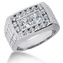 Platinum Men's Round & Princess Diamonds Ring 2.22ct
