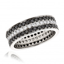 Platinum Rings: White and Black Diamond Eternity Band by Luxurman 2.85ct