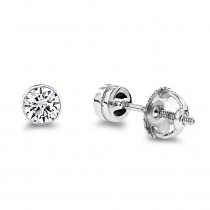 Platinum Round Diamond Bezel Earrings Studs 0.33ct