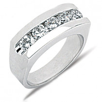 Platinum Round Diamond Men's Wedding Band 1.75ct