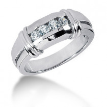 Platinum Round Diamond Men's Wedding Ring 0.40ct