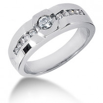 Platinum Round Diamond Men's Wedding Ring 0.55ct