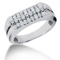 Platinum Round Diamond Men's Wedding Ring 0.75ct