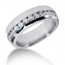 Platinum Round Diamond Men's Wedding Ring 0.91ct