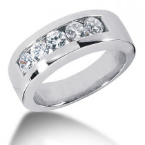 Platinum Round Diamond Men's Wedding Ring 1.25ct