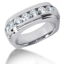 Platinum Round Diamond Men's Wedding Ring 1.60ct