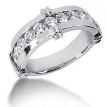 Platinum Round Diamond Men's Wedding Ring 1.80ct