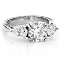 Platinum Three Stone Round and Pear Diamond Engagement Ring 3ct G/VS GIA