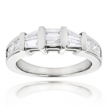 Princess Cut and Baguette Diamond Wedding Band 0.9ct 14K Gold