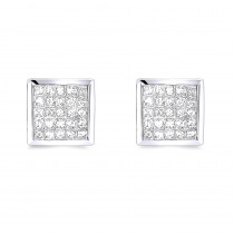 Princess Cut Diamond Earrings 0.5ct 14K Gold