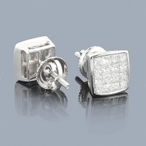 Princess Cut Diamond Earrings 1ct - Invisible Setting