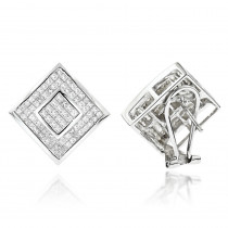 Princess Cut Diamond Earrings 2.50ct 14K Gold