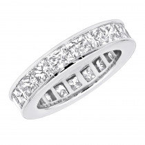 Thin Princess Cut Diamond Eternity Band 4.30ct 14K Gold